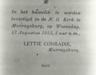 Huwelikskaartjie van Visser en Lettie Conradie klein