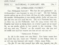 Eerste bladsy van Die Afrikaanse Patriot klein