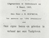 JH Hofmeyr se toespraak klein