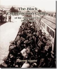 Die boekomslag toon 'n beestrok waarin honderde swart mense deur die Britse soldate gedwing is om hulle na die konsentrasiekampe te verwyder.