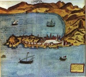 Die hawestad Ceuta, ook Septa genoem, aan die Noord-Afrikaanse kus.