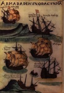 Portugese karvele soos uitgebeeld in 'n laat vyftiende-eeuse dokument.