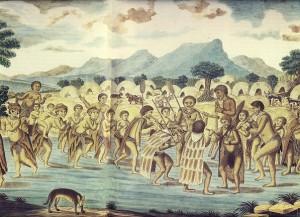 Die dansparty van die Klein-Namakwas is in 1779 in waterverf deur kol. Robert Jacob Gordon, kommandeur van die Kaapse garnisoen en ontdekkingsreisiger, gemaak. Hulle speel op fluite, klap ritmies met die hande op die maat van die musiek, en rieldans met die gestamp van die voete. Voordat die musiek begin, word elke fluit se toonhoogte met behulp van proppies in die instrument ingestel.