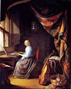 Die Klavesimbel-speelster, 1660, Gerrit Dou (1613-75)