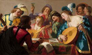Die Konsert, 1623, deur Gerard van Honthorst (1592-1656)