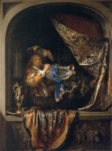 Die Trompetspeler, 1660, deur Gerrit Dou (1613-1675)