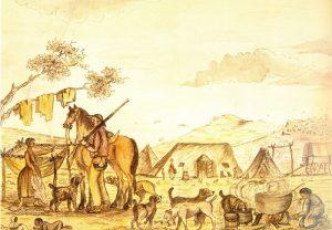 Figuur 1. 'n Kapstylhuis in die vorm van 'n skilddak. 'n Boer se huis in die binneland van Suid-Afrika met 'n looikuip en seepmakery (detail). Skildery deur Robert Henry Dingley, January 1819. Uit: K. Schoeman, life at the Cape, in Van De Geijn-Verhoeven et al., Domestic interiors at the Cape and in Batavia, 1602-1795. (T.M. Eliëns Ed.) Cape Town, 2002), p. 126.