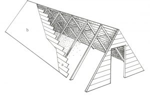 Figuur 1. 'n Voorstelling van die kapstylhuis van Jan van Riebeeck en sy gesin. Tekening: H. Raath