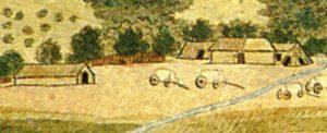 Figuur 1. Links, agter die huis, is 'n kapstylhuis met 'n deur in die sykant. Regs voor is 'n keëlvormige kookhut met twee ingange. Naby die huidige Somerset-Oos. (R. Gordon, Die plaas van Willem Prinsloo by die Bosberg (detail), skildery, laat 18de eeue. Uit: P.E. Raper & M. Boucher (Eds.), Robert Jacob Gordon: Cape travels, 1777 to 1786 I (Houghton, 1988), p. 109.