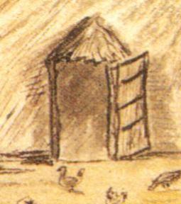 Figuur 1. 'n Hektipe deur. 'n Boer se huis in die binneland van Suid-Afrika met 'n  looikuip en seepmakery (detail). Skildery deur Robert Henry Dingley, January 1819. Uit: K. Schoeman, life at the Cape, in Van De Geijn-Verhoeven et al., Domestic interiors at the Cape and in Batavia, 1602-1795. (T.M. Eliëns Ed.) Cape Town, 2002), p. 126.