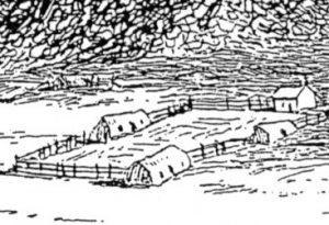 Figuur 1. Drie bootvormige hartbeeshuise by die Berlynse sendingstasie by Bethanië in die Transorangiae (detail). Let op die klein venstertjies by twee van die drie hartbeeshuise. (James Backhouse, Bethanië, ets, 1839). Uit: J. Backhouse, A narrative of a visit to the Mauritius and South Africa (London, 1844), teenoor p. 421.
