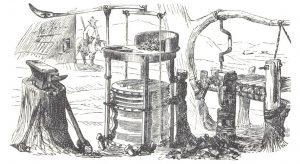 Figuur 2. 'n Halwe dakhuis, waarvan die nokpaal deur 'n gaffelsuil ondersteun is. Volgens Baines is die tipe struktuur meestal deur die Khoikhoi gebruik. (Thomas Baines, Hartebeesthut, houtsnee, s.a., middel 19de eeu). Uit: W.B. Lord & T. Baines, Shifts and expedients of camp life, travel and exploration (London, 1876. Facsimile reprint by Africana Book Society, Johannesburg, 1975), p. 222.