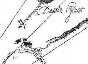 Figuur 2. 'n Wigvormige dakhuis met 'n vurkondersteunde-nokpaalkonstruksie op Dassen-eiland (detail), geïllustreerde kaart, 1656. Kaapse Argiefbewaarplek, ACC 1290 MI/19.