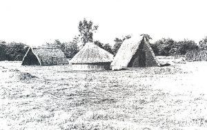 Figuur 2. 'n Saaldakvormige kapstylhuis, kookhuis en kapstylwaenhuis. (Eksperimentele rekonstruksie in die Voortrekkeraanvangsnedersetting van die Schoemansdal Museum, Louis Trichardt, Noord-Transvaal, 1989. Foto: H. Raath