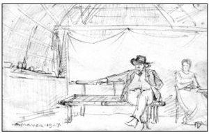 Figuur 2. 'n Hartbeeshuis van binne gesien. Let op na die gepleisterde muur (links) en die gordyn (agter) wat die huis in twee vertrekke verdeel. (Erich Mayer, Bosveldwoning, Voortrekkerstyl, noord-oos van Brits, tekening, 1927). Uit: Nasionale Kultuurhistoriese Museum, HG 7014 312.