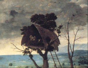 Figuur 3. 'n Vlaamse bootvormige dakhuis. (Joachim Patenier, St. Christoffel (detail), skildery, ca.1500-24). Uit: T. Kren & M.W. Ainsworth, Illuminators and painters: artistic exchanges and interrelationships, in T. Kren & S. Mckendrick et al., The Renaissance: the triumph of Flemish manuscript painting in Europe (London, © 2003), p. 53.