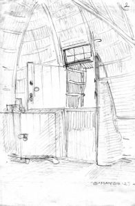 Figuur 3. Die raamwerk bestaande uit pale en dwarslatte soos van binne die huis gesien. In hierdie geval is die deur in die entgewel. Let ook op die raamwerk van die tuitjie by die oop bo-deur. (Erich Mayer, Bosveldwoning, Voortrekkerstyl, noord van Brits Transvaal, tekening, 1927). Uit: Nasionale Kultuurhistoriese Museum, HG 7014 397.