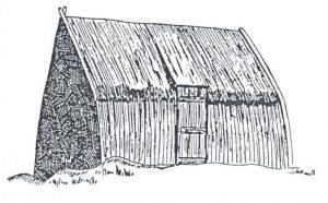 Figuur 3. 'n Bootvormige hartbeeshuis met 'n klampdeur. (Tekening deur J. Walton na T. Baines). Uit: J. Walton, Hartbeeshuis and hartbeeshut, Tydskrif vir Volkskunde en Volkstaal 11(4), Mei 1955, p. 9.