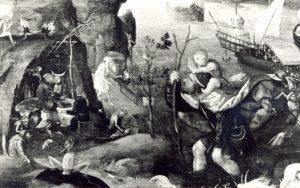 Figuur 4. 'n Vlaamse bootvormige dakhuis. (Pieter Huys, St. Christoffel met die Kind (detail), skildery, 16de eeu). Uit: M. van Boven et al., Noordbrabants Museum (Enschedé Grafische Inrichting, Haarlem, 1978), p. 51.