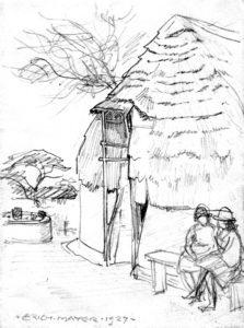 Figuur 4. Die vorm en konstruksie van die tuitjie van buite gesien. (Erich Mayer, Transvaalse Bosveldwoning, noord van Brits, volgens Voortrekkertradisie gebou, tekening, 1927). Uit: Nasionale Kultuurhistoriese Museum, HG 7014 311.