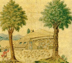 Figuur 4. 'n Ontwikkelde dakhuis met 'n vurkondersteunde-nokpaalkonstruksie. Twee vensteropeninge is teen die dakvlak sigbaar. 'n Plaas in die Swartland, in die huidige  distrik Malmesbury, Wes-Kaap. (Anoniem, Uitsig op 'n Kaapse koring, wyn en veeplaas (detail), geïllustreerde kaart, 1780).  Uit: P.E. Raper & M. Boucher (Eds.), Robert Jacob Gordon: Cape travels, 1777 to 1786 I (Houghton, 1988), p. 38.