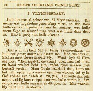 So het die Genootskap van Regte Afrikaners teen die gevare van die Vrymesselary gewaarsku.
